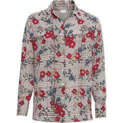 Szeroka bluzka bonprix biel wełny z nadrukiem. Białe bluzki nietoperze marki bonprix, z nadrukiem, z wełny. Za 49,99 zł.