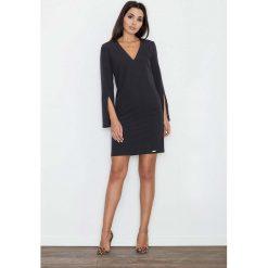 Czarna Sukienka Koktajlowa Mini z Rozciętym Rękawem. Białe sukienki balowe marki numoco, do pracy, l, z nadrukiem, z elastanu, z kopertowym dekoltem, z długim rękawem, kopertowe. Za 134,90 zł.