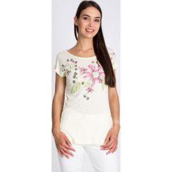 Bluzki damskie: Bluzka ecru z motywem kwiatowym QUIOSQUE
