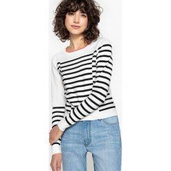 Kardigany damskie: Sweter w paski z okrągłym dekoltem
