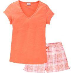 Piżamy damskie: Piżama z krótkimi spodniami bonprix łososiowy w kratę