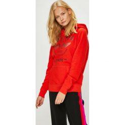 Mustang - Bluza. Niebieskie bluzy z kapturem damskie marki Mustang, z aplikacjami, z bawełny. W wyprzedaży za 179,90 zł.
