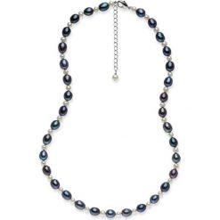 Naszyjniki damskie: Naszyjnik z pereł w kolorze granatowo-białym – dł. 42 cm