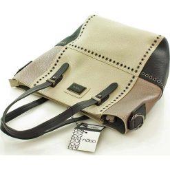 Shopper bag damskie: Beżowa Torba Typu Shopper ze Srebrnymi Detalami