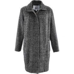 Luźniejszy płaszcz z materiału o wyglądzie wełny bonprix czarno-srebrny melanż. Czarne płaszcze damskie pastelowe bonprix, melanż, z wełny. Za 229,99 zł.