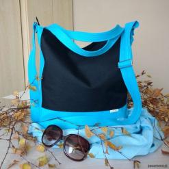 Czarno - błękitna torba worek na co dzień. Czarne shopper bag damskie Pakamera, do ręki, duże. Za 130,00 zł.
