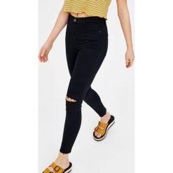 Spodnie rurki z wysokim stanem. Szare rurki damskie marki Pull & Bear, okrągłe. Za 49,90 zł.