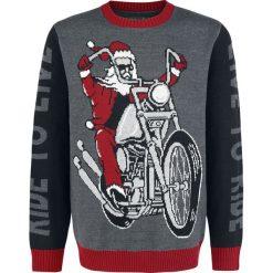 Swetry klasyczne męskie: Anlässe und Feiertage Ugly Christmas Sweater – Live To Ride – Ride To Live Sweter z dzianiny wielokolorowy