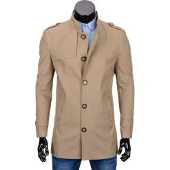 PŁASZCZ MĘSKI C269 - BEŻOWY. Brązowe płaszcze na zamek męskie Ombre Clothing, l, z bawełny, eleganckie. Za 149,00 zł.