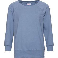 Bluza oversize, rękawy 3/4 bonprix matowy niebieski. Niebieskie bluzy damskie bonprix. Za 59,99 zł.
