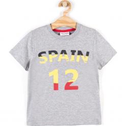 Koszulka. Szare bluzki dziewczęce bawełniane WORLD CUP, z aplikacjami, z długim rękawem. Za 19,90 zł.