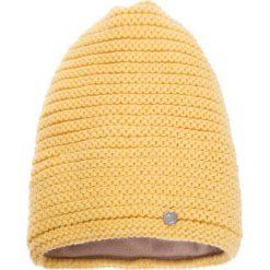 Czapki zimowe damskie: Jasnożółta prążkowana czapka QUIOSQUE