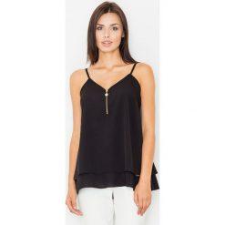 Bluzki asymetryczne: Zwiewna Czarna Dwuwarstwowa Bluzka na Ramiączkach