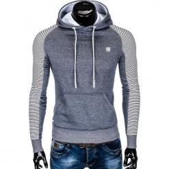 BLUZA MĘSKA Z KAPTUREM B821 - NIEBIESKA/MELANŻOWA. Niebieskie bluzy męskie rozpinane Ombre Clothing, m, z bawełny, z kapturem. Za 65,00 zł.