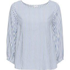 Bluzki asymetryczne: Bluzka bonprix biel wełny - matowy niebieski w paski