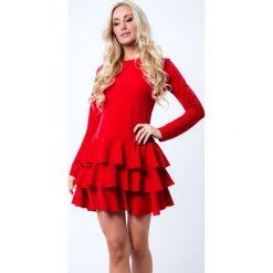 Sukienki: Sukienka z falbanami czerwona 6650