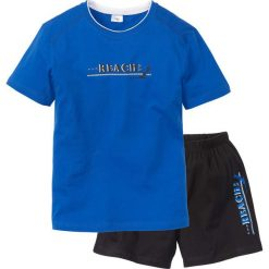 Piżama z krótkimi spodenkami bonprix lazurowo-czarny. Niebieskie piżamy męskie bonprix, l, z krótkim rękawem. Za 34,99 zł.