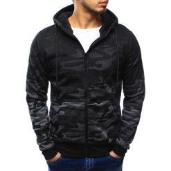 Bluzy męskie: Bluza męska camo rozpinana antracytowa z kapturem (bx3179)