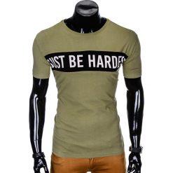 T-SHIRT MĘSKI Z NADRUKIEM S977 - KHAKI. Brązowe t-shirty męskie z nadrukiem marki Ombre Clothing, m. Za 29,00 zł.