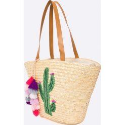 Answear - Torebka. Szare torebki klasyczne damskie ANSWEAR, z haftami, z materiału, duże, z haftem. W wyprzedaży za 99,90 zł.