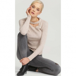 Beżowy Sweter Automatically. Brązowe swetry klasyczne damskie other, uniwersalny. Za 39,99 zł.