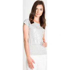 Bluzki asymetryczne: Szara bluzka ze srebrnym wzorem QUIOSQUE