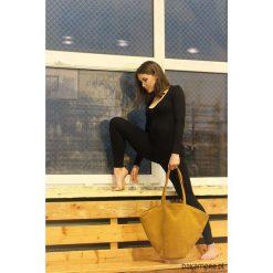 Shelly bag torba musztardowa nubuk syntetyczny. Brązowe torebki klasyczne damskie Pakamera, w paski, z nubiku. Za 165,00 zł.