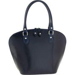 Torebki klasyczne damskie: Skórzana torebka w kolorze granatowym – 38 x 28 x 14 cm