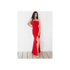 """Sukienka """"Joanna"""" - czerwona. Zielone sukienki na komunię marki Soleil, na co dzień, xs, z dekoltem w łódkę, dopasowane. Za 349,00 zł."""