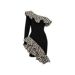 Sukienka Salma. Czarne długie sukienki Silje, z asymetrycznym kołnierzem, z długim rękawem, asymetryczne. Za 340,00 zł.