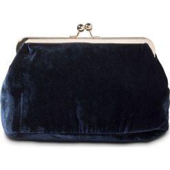 Kopertówka aksamitna bonprix ciemnoniebiesko-złoty kolor. Niebieskie puzderka bonprix, w paski, wizytowe. Za 74,99 zł.