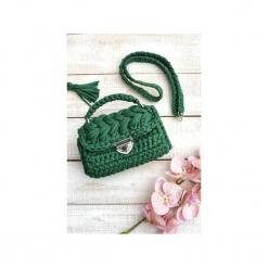 SZYDEŁKOWA TOREBKA - KOLOR BUTELKOWA ZIELEŃ. Zielone torebki klasyczne damskie Lililu, w paski, z bawełny. Za 219,00 zł.