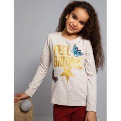 T-shirty dziewczęce: Beżowa bluzka z napisami NDZ8138