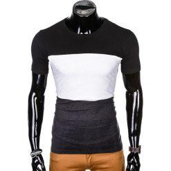 T-SHIRT MĘSKI Z NADRUKIEM S1005 - CZARNY/GRAFITOWY. Czarne t-shirty męskie z nadrukiem Ombre Clothing, m. Za 29,00 zł.