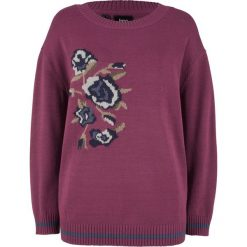 Sweter w kwiaty bonprix jeżynowy wzorzysty. Fioletowe swetry klasyczne damskie marki DOMYOS, l, z bawełny. Za 49,99 zł.