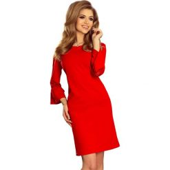 Czerwona Sukienka Wizytowa z Koronką na Rękawie. Fioletowe sukienki koktajlowe marki Reserved, z falbankami. Za 139,90 zł.
