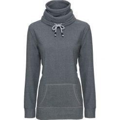 Swetry klasyczne damskie: Sweter z polaru, długi rękaw bonprix szaro-czarny w paski