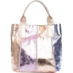 Torebki klasyczne damskie: Skórzana torebka w kolorze różowozłoto-jasnoróżowym – 35 x 33 x 18 cm
