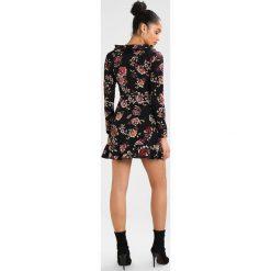 Sukienki: Missguided FLORAL LONG SLEEVE RUFFLE DRESS Sukienka letnia black