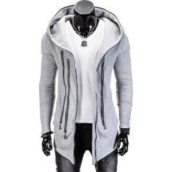 Bluzy męskie: BLUZA MĘSKA ROZPINANA Z KAPTUREM B689 – SZARA