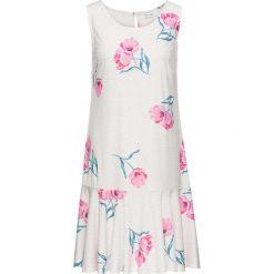 Sukienki: Sukienka z dżerseju z falbaną bonprix biel wełny w kwiaty