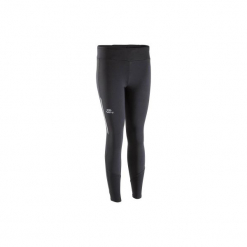 Legginsy do biegania długie RUN WARM damskie. Czarne legginsy marki KALENJI, z elastanu, z długim rękawem, długie. Za 49,99 zł.
