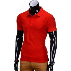 KOSZULKA MĘSKA POLO BEZ NADRUKU S715 - CZERWONA. Czerwone koszulki polo marki Ombre Clothing, m, z nadrukiem, z materiału. Za 39,00 zł.