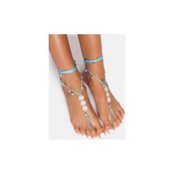 Bransoletki damskie na nogę: Niebieska bransoletka na stopę Flowers
