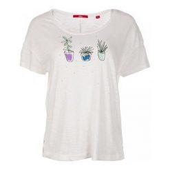 S.Oliver T-Shirt Damski 36 Kremowy. Białe t-shirty damskie S.Oliver, s, z nadrukiem, z bawełny, z okrągłym kołnierzem. W wyprzedaży za 59,00 zł.