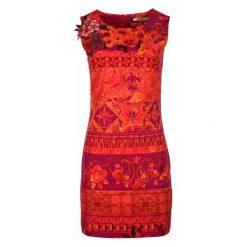 Desigual Sukienka Damska Angelina 36 Czerwony. Czerwone sukienki z falbanami marki Desigual, s, w kolorowe wzory, z materiału. W wyprzedaży za 319,00 zł.