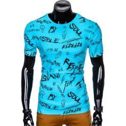 T-shirty męskie z nadrukiem: T-SHIRT MĘSKI Z NADRUKIEM S961 - BŁĘKITNY