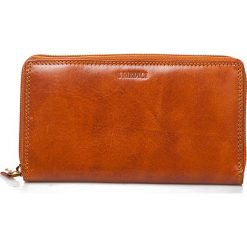 Portfele damskie: Skórzany portfel w kolorze brązowym – 11 x 19 x 2,5 cm