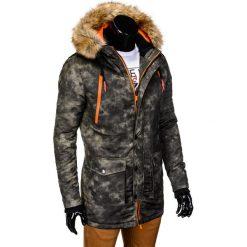 KURTKA MĘSKA ZIMOWA PARKA C300 - MORO. Szare kurtki męskie pikowane marki Ombre Clothing, na zimę, m, moro, z futra. Za 139,00 zł.