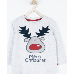 Koszulka. Czerwone t-shirty chłopięce z długim rękawem Merry Christmas, z aplikacjami, z bawełny. Za 42,90 zł.